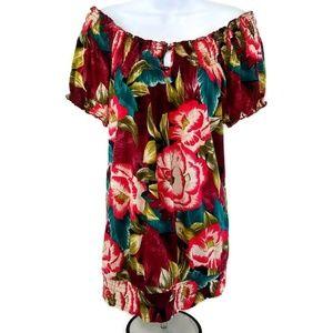 Lucky Brand Boho Women's Floral Top Short Sleeve